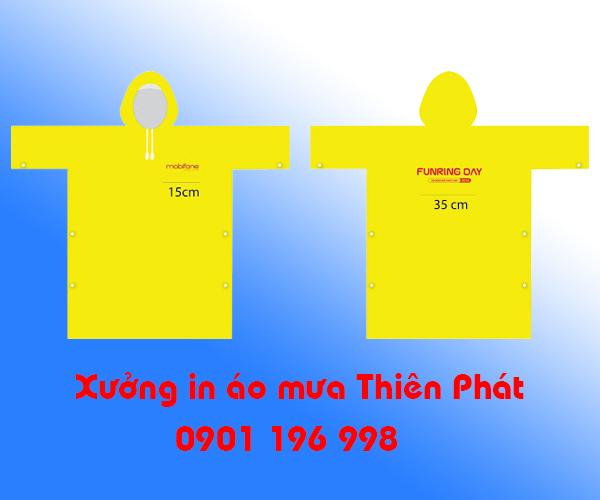 Xưởng in áo mưa giá rẻ tại TPHCM, in áo mưa quảng cáo tại TPHCM, may áo mưa vải dù, may áo mưa vải nhựa rạng đông. LH : 0901 196 998
